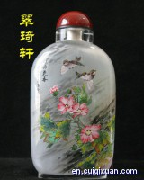 Inside Painting Nectaromycetes(Birds and Flowers)Pattern Snuff Bottle