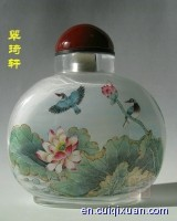 Chinese Glass Hand Inside Painting Nectaromycetes Pattern Snuff Bottle—Summer