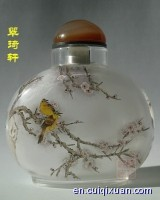 Chinese Glass Hand Inside Painting Nectaromycetes Pattern Snuff Bottle—Spring